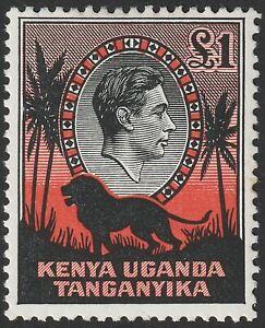Kenya Uganda Tanganyika 1954 KGVI Lion £1 Black + Red perf 12½ Mint SG150b c £18
