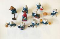 Lot of 10 ~ Vintage 1980's Smurf Figures Peyo Schleich Lot B
