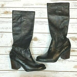 FRYE Womens Pebbled Black Leather Rory Scrunch Pull On High Heel Boots Size 8.5M