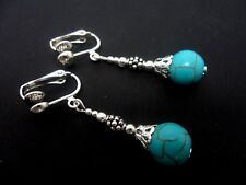 A PAIR OF TURQUOISE  BEAD  SILVER  PLATED DROP  CLIP ON EARRINGS. NEW.