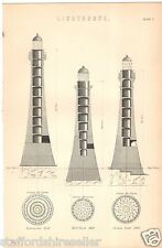 Antique Victorian Print c1880 Lighthouse Sections Reflectors Lanterns 3 Prints