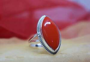 Magnificent Red Coral Gemstone 925 Sterling Silver Handmade Ring All Size