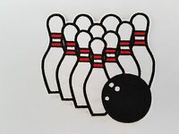 Ten Pin Bowling Iron On Patch Sew on Transfer Badge