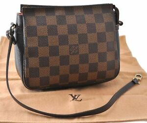 Authentic Louis Vuitton Damier Trousse Makeup Hand Bag Pouch N51982 LV D9557