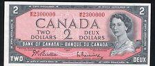 BC-38b 1954 $2 BANK OF CANADA BEATTIE / RASMINSKY FANCY SERIAL # M/R 2300000