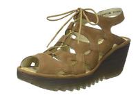 Fly London YEXA Sand TAN Strappy Leather Wedge  Sandal US 8-8.5 EU 39