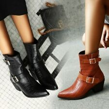 Women Pointy Toe Block Heels Buckle Strap Ankle Boots Plus size Fashion Shoes