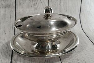 Vintage Reed & Barton Silver Plate Gravy Boat With Lid Covered  Dish Bowl ~ EPNS