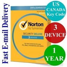 Norton Internet Security Deluxe 3 Device / 1 Year (US & CANADA Key Code) 2020