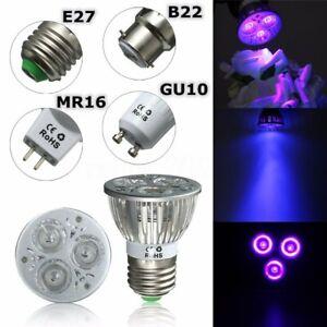 3W E27 GU10 MR16 B22 3*1W UV LED Purple light Spotlight Lamp Bulb AC85-265V/12V