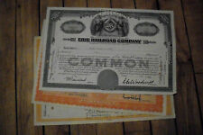 4 diff. old USA railroad stock certificates nice used