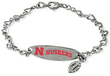 NEBRASKA CORNHUSKERS * Stainless Steel ID Bracelet w/CZ Dangle  New NCAA Jewelry
