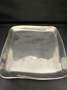 RARE! Pottery Barn Ghanta Metal Heavy Square Serving Dish Platter Tray Candles