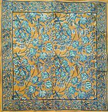Hand Block Print Floral Berry Napkins Table Linen Cotton Beautiful Blue Green