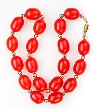 Vintage BAKELITE CHERRY NECKLACE. Red cherry amber  beads 46 gr collectables
