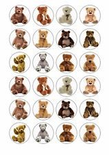 24 x TEDDY BEARS PICNIC Wafer Rice Paper Cupcake Toppers EDIBLE CAKE DECORATIONS