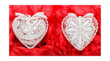 2x Christmas hand decorated heart baubles guipure lace,Xmas tree decoration