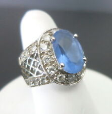 WOMENS HSN ANTIQUE LACE DIAMONITE & SIMULATED TANZANITE STERLING RING SIZE 5