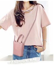 Mini Korean Leather Sling Bag (Pink)