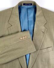 Alan Flusser Mens Two Button Sport Coat Size 42R Gold Herringbone Silk & Wool