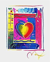 "Heart Series III, Limited Edition Lithograph Mini 5"" x 4"" Peter Max SIGNED w/COA"