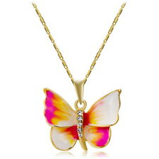 Crystal Jewellery 18K Gold Plated Colorful Opal  Butterfly Pendant Necklace