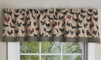 HEN PECKED Curtain Valance Chickens Black Dk Red Tan Farmhouse Primitive Country