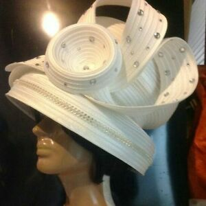 Beautiful Winter-White Ivory Church Rhinestone Studded Easter Formal Derby Hat.