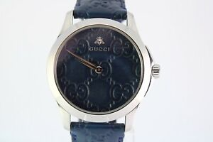 New Gucci G Timeless 126.4 Stainless Steelx Leather QZ Blue Dial Blue Band