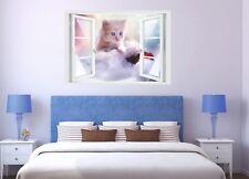 Wandtattoo Fenster 3D Optik Wandsticker Aufkleber Deko Bild Katze Kätzchen Baby
