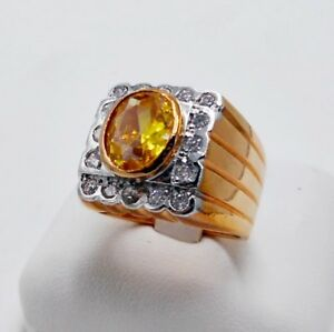 MEN RING YELLOW SAPPHIRE 18K ROSE PINK GOLD FILLED GP SOLITAIRE SQUARE SIZE 7.5