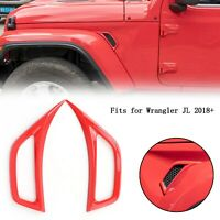 Red Car Leaf Plate Air Inlet Cover Trim For Wrangler JL 2018+