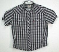 Levis Mens Pearl Snap Blue Authentic Western Wear Short Sleeve Shirt Size XL EUC