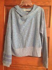 Roxy Heather Blue Sweatshirt Hoodie Long Sleeve Stripe Cotton Polyester