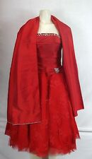 MAY QUEEN Red Lace Satin Polyester Solid Strapless Formal Dress size 4 small