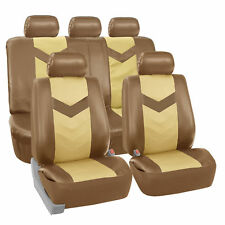 Faux Synthetic Leather Car Seat Covers for Auto Universal Fit 2 Tone Beige