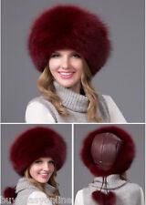 Brand fox fur  leather hat Burgundy Russian Ushanka/Cossack Trapper Hat