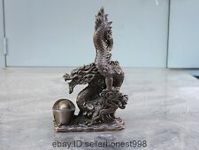 10 China Royal Feng shui Yuanbao Ingot Wealth Zodiac Dragon Bronze Statue