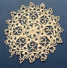 Rare Antique Handmade Reticella Needle Lace Doily Coaster
