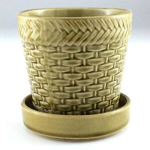 Lovely Vintage Made In Japan Green Wicker Style Planter K850