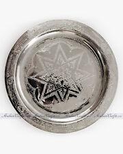 """LARGE Moroccan Engraved Alpaca Silver Serving Tea Tray  15.5"""" Diam."""