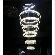 LED Large Crystal 6 Rings Circle Chandelier Fixture Pendant Lighting Living Room