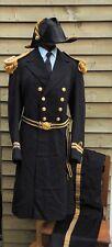 More details for royal navy - officer's frock coat, bicorn hat, epaulettes & sword belt - british