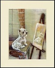 WESTIE WEST HIGHLAND WHITE TERRIER AND PAINTING DOG PRINT MOUNTED READY TO FRAME
