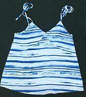 B Collection Size 8 White Blue Tank Top Stripe Spaghetti Strap Tie Elastic Back