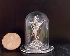 New OOAK Man~On~Horse Statue Silver/Glass Dome Mantle Dollhouse Miniature Reg$40