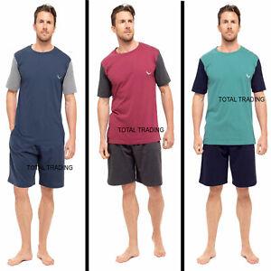 Mens Pyjamas Set Pjs T-shirt TOP & SHORT Bottoms Pants Pajamas COTTON MIX