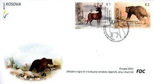 Kosovo Stamps 2021. CEPT Europa 2021: Endangered wildlife. Fauna. FDC Set MNH