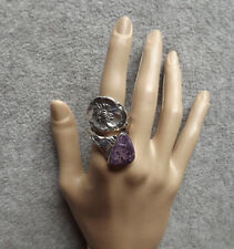 Buttercup by Wallace Sterling spoon ring Natural Charoite sz 11/1/2-12
