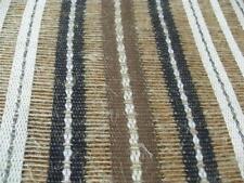 Masculine TEXTURED LINEN open weave Woven Stripe DRAPERY FABRIC New black brown